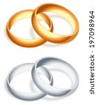 golden and silver wedding rings. | Shutterstock .eps vector #197098964