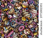 cartoon doodles desserts...   Shutterstock .eps vector #1971002351