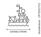 research vessel linear icon.... | Shutterstock .eps vector #1971011711