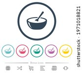 glossy bowl of soup with spoon...   Shutterstock .eps vector #1971018821