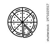 pizza icon line style vector...