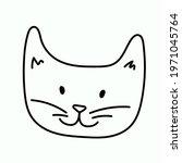 cute kitten face. vector... | Shutterstock .eps vector #1971045764