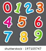 funny comic numbers vector... | Shutterstock .eps vector #197105747