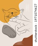 abstract cat line art with...