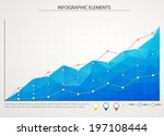 blue business chart graph with... | Shutterstock .eps vector #197108444