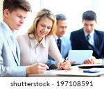 business team working on their... | Shutterstock . vector #197108591