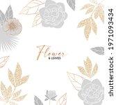 elegant hand drawn gold flower...   Shutterstock .eps vector #1971093434