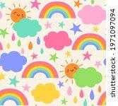 cute hand drawn cloud  sun ... | Shutterstock .eps vector #1971097094