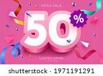 50 percent off. discount... | Shutterstock .eps vector #1971191291