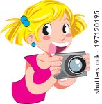 vector young girl with camera | Shutterstock .eps vector #197120195