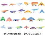 hang glider icons set. cartoon... | Shutterstock .eps vector #1971221084