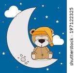 good night design over blue... | Shutterstock .eps vector #197122325