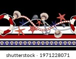 border with starfishes  anchors ... | Shutterstock .eps vector #1971228071