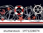 border with starfishes  anchors ...   Shutterstock .eps vector #1971228074