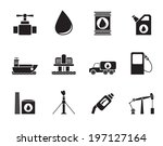 silhouette oil and petrol... | Shutterstock .eps vector #197127164