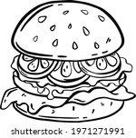 black and white illustration of ... | Shutterstock .eps vector #1971271991