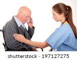 nurse with elderly patient | Shutterstock . vector #197127275