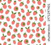 seamless strawberry vector... | Shutterstock .eps vector #1971297401