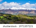 Snowy peaks of the Skiddaw range, on a pleasant sunny afternoon - Lake District, UK