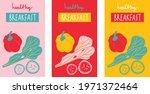 healthy breakfast poster set... | Shutterstock .eps vector #1971372464