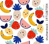 seamless pattern with funny... | Shutterstock .eps vector #1971387554