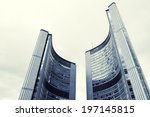 Stock photo toronto city hall in front of cloudy skies 197145815