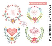 set of cute floral fashion... | Shutterstock .eps vector #197147021