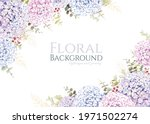 hydrangea with greenery frame...   Shutterstock .eps vector #1971502274