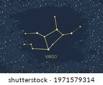 hand drawn card of gold virgo ... | Shutterstock .eps vector #1971579314