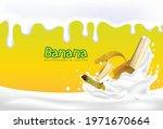 3d. splash of banana milk. 3d... | Shutterstock .eps vector #1971670664