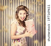 Small photo of Funny retro pinup portrait of a jumpy woman from 1950 holding vintage snack box with falling popcorn, showing scared expression when watching a scary movie