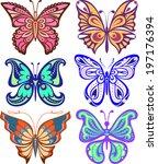 butterflies variety of complex... | Shutterstock .eps vector #197176394