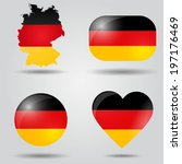 germany flag set in map  oval ... | Shutterstock .eps vector #197176469