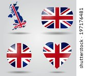 united kingdom flag set in map  ... | Shutterstock .eps vector #197176481