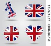 united kingdom flag set in map  ... | Shutterstock .eps vector #197176481