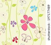 seamless flower background | Shutterstock .eps vector #197177489