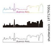 buenos aires skyline linear... | Shutterstock . vector #197179301