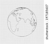 pencil drawn world | Shutterstock .eps vector #197185607