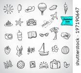 set of  vector doodle summer... | Shutterstock .eps vector #197190647
