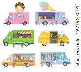 set of foodtrucks cartoon... | Shutterstock .eps vector #1971927014