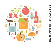 round greeting card with icons... | Shutterstock .eps vector #197198531