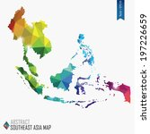 colorful abstract Southeast Asia map, vector illustration, mesh, triangles, delaunay, EPS10