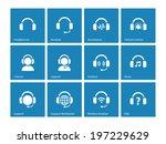headphone icons on blue...