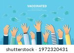 vaccinated. takes off medical... | Shutterstock .eps vector #1972320431
