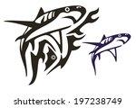 tribal shark vector | Shutterstock .eps vector #197238749