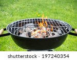 empty grill on garden with... | Shutterstock . vector #197240354