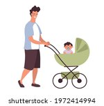 a young daddy walks with a baby ... | Shutterstock .eps vector #1972414994