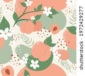 peach or apricot fruit seamless ...   Shutterstock .eps vector #1972429277