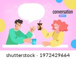young couple talking and... | Shutterstock .eps vector #1972429664