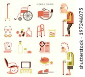 Elderly people and objects for pensioners.Vector flat design icons